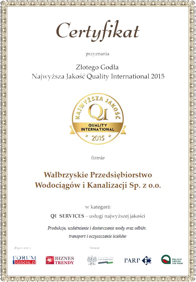 Złote Godło- Certyfikat